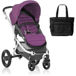 Britax Affinity Stroller with Diaper Bag in Berry and White Frame