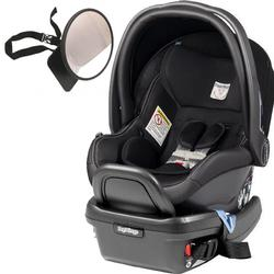 Peg Perego - Primo Viaggio 4-35 Car Seat w/ Back Seat Mirror - Licorice - Black Eco-Leather