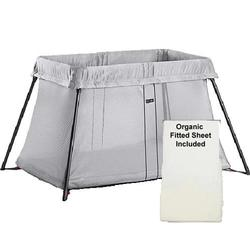 Baby Bjorn - Travel Crib Light With Organic Fitted Sheet Kit - Silver Mesh