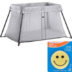 Baby Bjorn - Travel Crib Light with Night Light - Silver Mesh