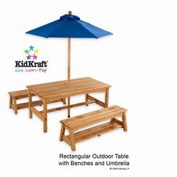 KidKraft 00043 Table with Benches with Blue Umbrella