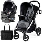Peg Perego - Book Stroller Travel System with a Diaper Bag - Stone