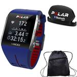 Polar - V800 GPS Sports Watch with Bluetooth Cadence Sensor and Bag - Blue/Red
