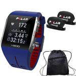 Polar - V800 GPS Sports Watch with Bluetooth Cadence Sensor Set and Bag - Blue/Red