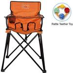ciao! baby - Portable High Chair with Rattle Teether Toy - Orange