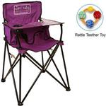 ciao! baby - Portable High Chair with Rattle Teether Toy - Purple