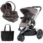 Quinny Buzz Xtra Travel System with Black Car Seat and Diaper Bag - Grey/Black