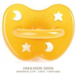 Hevea 323200 - Star and Moon Natural Rubber Orthodontic Pacifier - 3+ Months Large