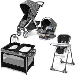 Chicco - Bravo Stroller Trio System with Playard and High Chair Combo - Rainfall