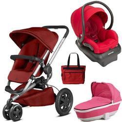 Quinny - Buzz Xtra Travel System with Bassinet and Bag - Red and Pink
