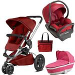 Quinny - Buzz Xtra MAX Travel System with Bassinet and Bag - Red and Pink
