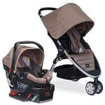 Britax  B-Agile and B-Safe Travel System with car seat and diaper bag in Sandstone