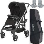 Inglesina AG37H6TBKUS- Trilogy Stroller - Black with Bag and Car Seat Adapter