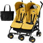 Peg Perego - Stroller Pliko Mini Twin Mod Yellow With Black Diaper Bag