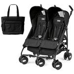 Peg Perego - Stroller Pliko Mini Twin Onyx Black With Black Diaper Bag