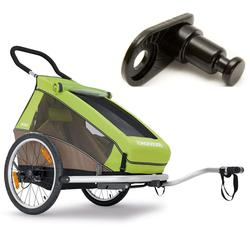 Croozer- 121990416KT -Kid For 2 Bicycle Trailer- Includes Extra Hitch Round- Meadow Green / Sand Grey
