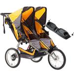 BOB Ironman, Duallie Double Stroller, with a diaper bag, Yellow