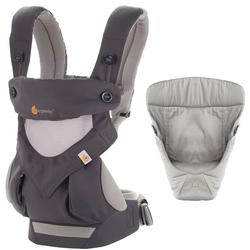 Ergo Baby Four Position 360 Baby Carrier Bundle of Joy in Carbon Grey with Easy Snug Infant Insert Grey
