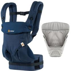 Ergo Baby Four Position 360 Baby Carrier Bundle of Joy in Midnight Blue with Easy Snug Infant Insert Grey
