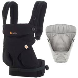 Ergo Baby Four Position 360 Baby Carrier Bundle of Joy in Pure Black with Easy Snug Infant Insert Grey