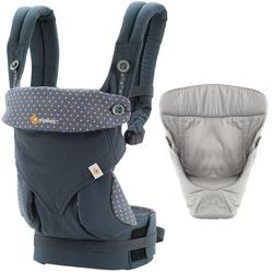Ergo Baby Four Position 360 Baby Carrier Bundle of Joy in  Dusty Blue with Easy Snug Infant Insert Grey
