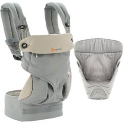 Ergo Baby Four Position 360 Baby Carrier Bundle of Joy in Grey with Easy Snug Infant Insert Grey