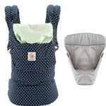 Ergo Baby Original Baby Carrier Bundle of Joy in Indigo Mint Dots with Easy Snug Infant Insert Grey