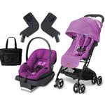Goodbaby GB QBIT Posh Pink Asana Infant Car Seat and Stroller Travel System with Diaper Bag