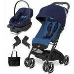 Goodbaby GB QBIT Seaport Blue Asana Infant Car Seat and Stroller Travel System with Diaper Bag
