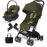 Goodbaby GB QBIT Lizard Khaki Asana Infant Car Seat and Stroller Travel System with Diaper Bag