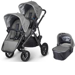 UPPAbaby 0317-PAS Pascal VISTA Double Stroller Kit with Bassinet - Grey/Carbon