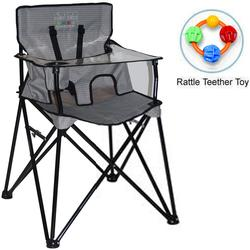 ciao! baby - Portable High Chair with Rattle Teether Toy - Grey Check