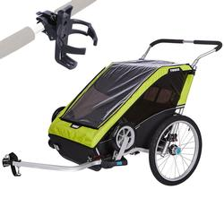 Thule Chariot Cheetah XT Multisport Trailer 2 with Cup Holder - Chartreuse
