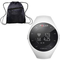 Polar M200 GPS Running Watch with Wrist-Based Heart Rate - White/Small-Medium with Bonus Cinch Bag