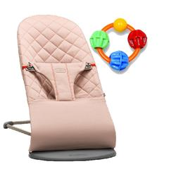 Baby Bjorn Bliss Bouncer - Old Rose with Click Clack Balls Teether