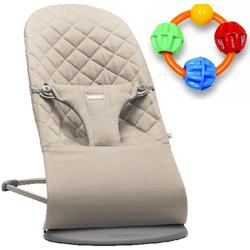 Baby Bjorn Bliss Bouncer - Sand Grey with Click Clack Balls Teether