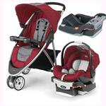 Chicco Viaro Stroller Travel System with Extra Ketyfit 30 Base - Cranberry/Anthracite