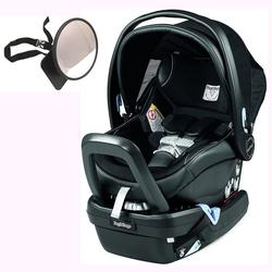Peg Perego Primo Viaggio Nido Car Seat with Load Leg Base w/ Back Seat Mirror - Licorice