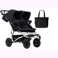 Mountain Buggy Duet V3_5 Double Buggy Stroller - Black with Diaper Bag
