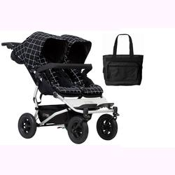 Mountain Buggy Duet V3_59 Double Buggy Stroller - Grid with Diaper Bag