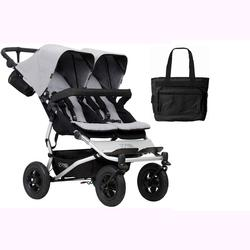 Mountain Buggy Duet V3_6 Double Buggy Stroller - Silver with Diaper Bag