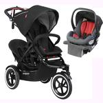 Phil & Teds Sport Stroller V5_5 With Double Seat - Black and Alpha Infant Car Seat - Flint/Red