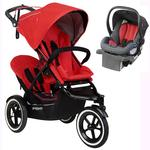 Phil & Teds Sport Stroller V5_19 With Double Seat - Cherry and Alpha Infant Car Seat - Flint/Red