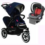Phil & Teds Sport Stroller V5_3 With Double Seat - Midnight and Alpha Infant Car Seat - Flint/Red