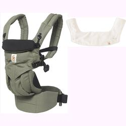 Ergo Baby Omni 360 All-in-One Ergonomic Baby Carrier with Teething Pad and Bib - Khaki Green/Natural
