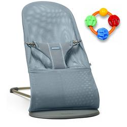 Baby Bjorn Bliss Bouncer Mesh - Dusk Blue with Click Clack Balls Teether