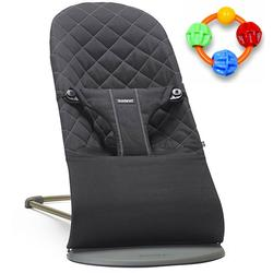 Baby Bjorn Bliss Bouncer Cotton - Black with Click Clack Balls Teether