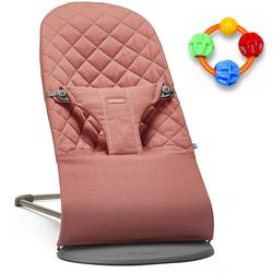 Baby Bjorn Bliss Bouncer Cotton - Terracotta Pink with Click Clack Balls Teether
