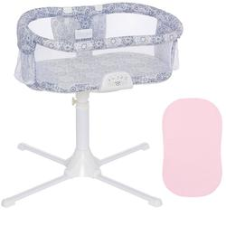 Halo - Swivel Sleeper Bassinet - Luxe Series - Blue Medallion with Pink Fitted Sheet