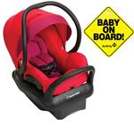 Maxi-Cosi Mico Max 30 Infant Car Seat - Red Orchid with Baby on Board Sign
